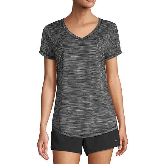 Xersion Womens V Neck Short Sleeve T-Shirt Petite