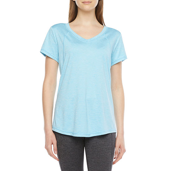 Xersion Womens V Neck Short Sleeve T-Shirt Tall