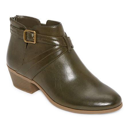 70s Shoes, Platforms, Boots, Heels | 1970s Shoes a.n.a Womens Lemona Booties Block Heel 8 12 Medium Green $39.99 AT vintagedancer.com