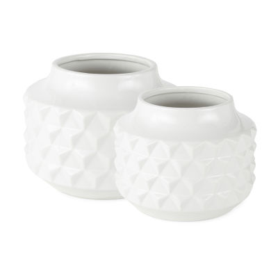 Loom + Forge Glossy White Geometric Ceramic Planter