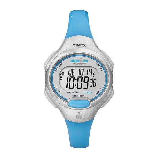 Timex® Ironman Womens Blue Resin Strap Chronograph Sport Watch T5K739