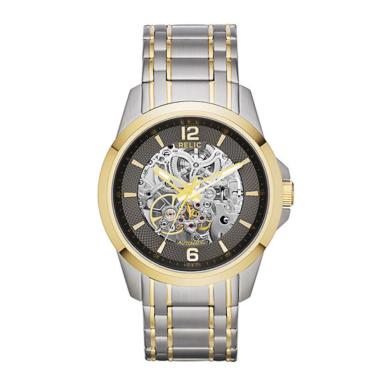 Relic By Fossil Relic Mens Automatic Two Tone Stainless Steel Bracelet Watch-Zr12109