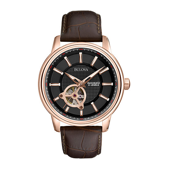 Bulova Classic Mens Automatic Brown Leather Strap Watch-97a109