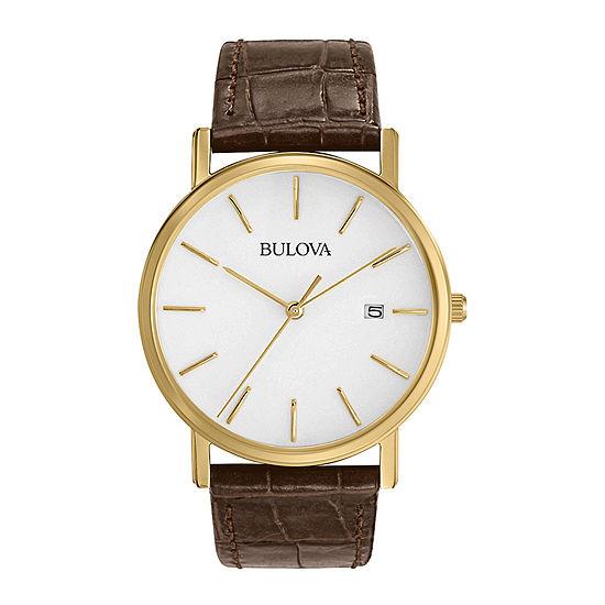 Bulova Classic Mens Brown Strap Watch-97b100