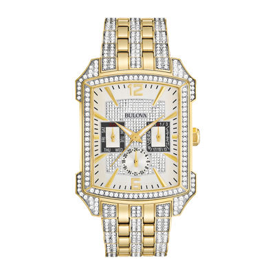 Bulova® Mens Two-Tone Crystal-Accent Watch