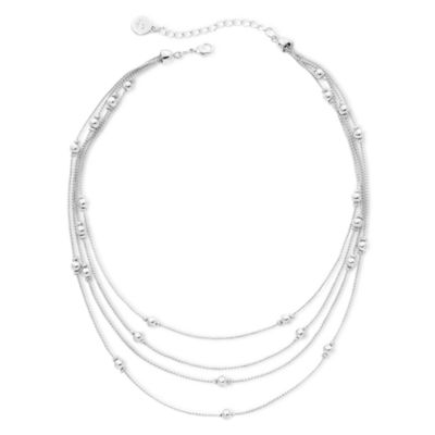 Liz Claiborne® Silver-Tone, Layered Multistrand Necklace