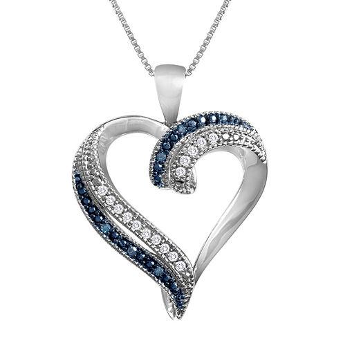 1/10 CT. T.W. Genuine White & Color-Enhanced Blue Diamond Heart Pendant Necklace