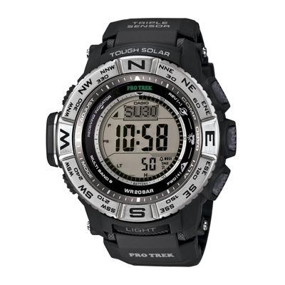 Casio® Pro Trek Triple Sensor Mens Black Resin Solar Sport Watch PRW3500-1CR