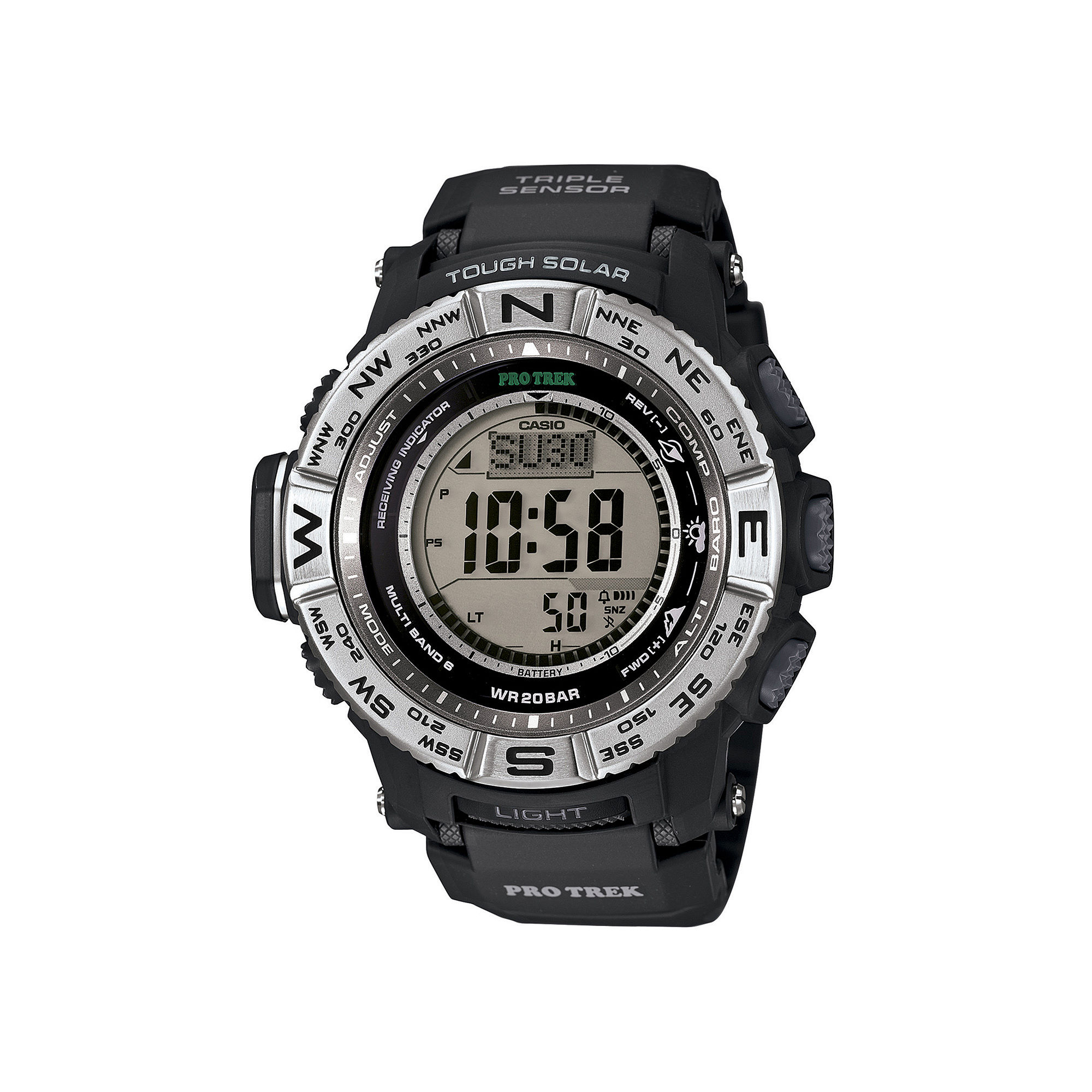 Casio Pro Trek Triple Sensor Mens Black Resin Solar Sport Watch PRW3500-1CR