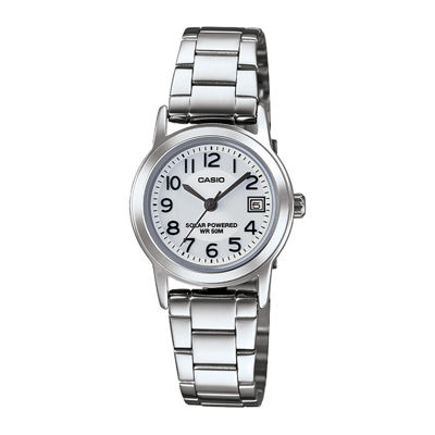 Casio® Easy Reader Womens Stainless Steel Solar Bracelet Watch LTPS100D-7BVCF