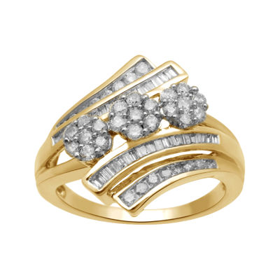 diamond blossom 3/4 CT. T.W. Diamond 10K Yellow Gold 3-Cluster Bypass Ring