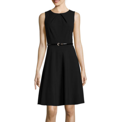 Alyx® Sleeveless Pleat-Neck Belted Fit-and-Flare Dress