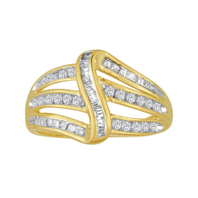 3/8 CT. T.W. Diamond 10K Yellow Gold Bypass Ring