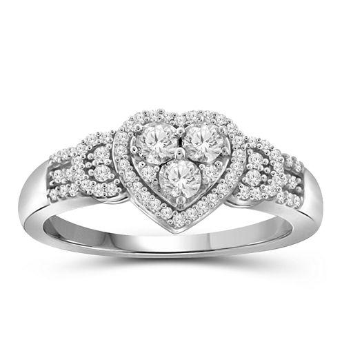 1/4 CT. T.W. Diamond 10K White Gold Heart Ring