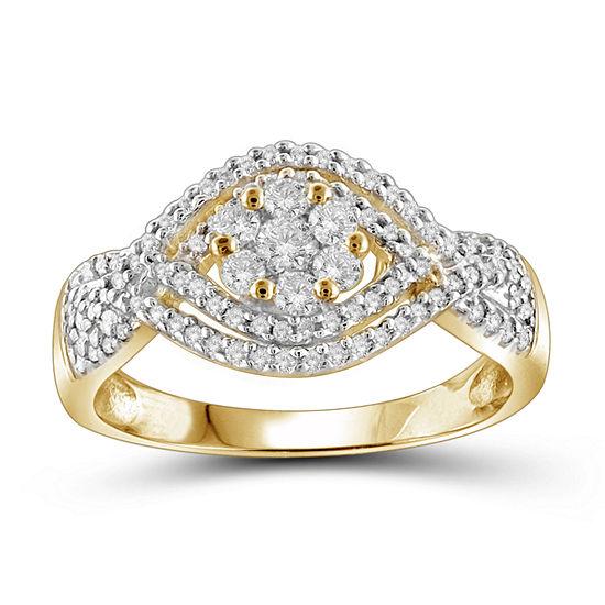 1/2 CT. T.W. Diamond Cluster 10K Yellow Gold  Ring