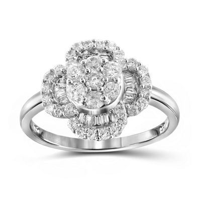 1 CT. T.W. Diamond 10K White Gold Flower Ring