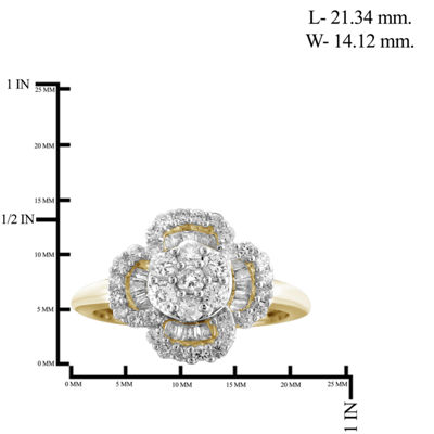 1 CT. T.W. Diamond 10K Yellow Gold Flower Ring