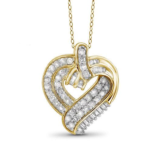 1 Ct Tw Diamond 10k Yellow Gold Heart Pendant Necklace