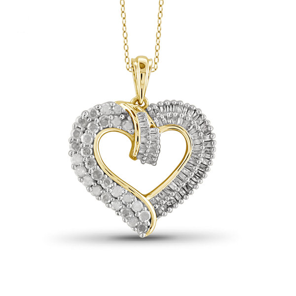 1 CT. T.W. Diamond 10K Yellow Gold Heart Pendant Necklace