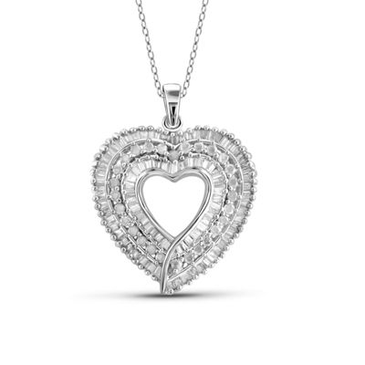 1 CT. T.W. Diamond 10K White Gold Heart Pendant Necklace