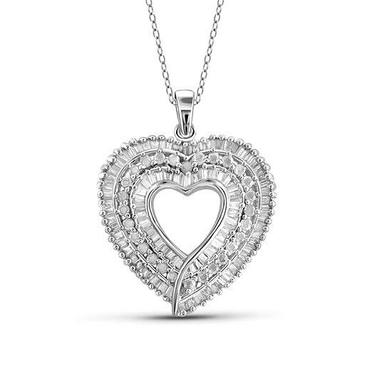 1 CT. T.W. Diamond 10K White Gold Heart Pendant Necklace