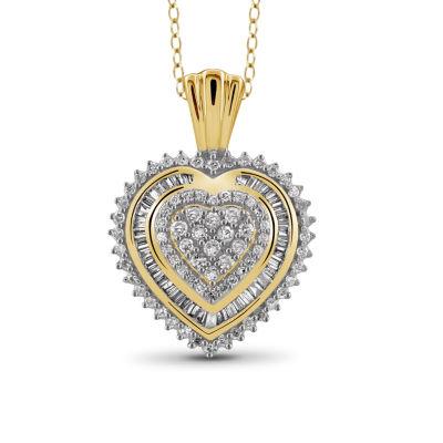 1/2 CT. T.W Diamond 10K Yellow Gold Heart Pendant Necklace