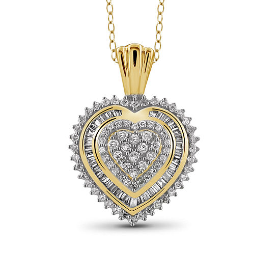 1/2 CT. T.W Diamond 10K Yellow Gold Heart Pendant Necklace