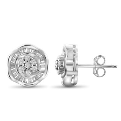 1/2 CT. T.W. Diamond 10K White Gold Earrings