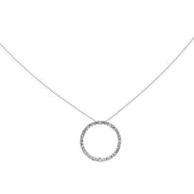 1/3 CT. T.W. Diamond 14K White Gold Circle Pendant Necklace