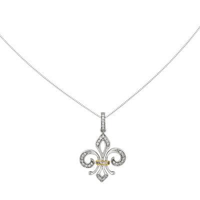 1/5 CT. T.W. Diamond 14K White Gold Fleur De Lis Pendant Necklace