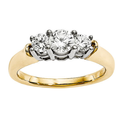 7/8 CT. T.W. Diamond 14K Two-Tone Gold 3-Stone Engagement Ring
