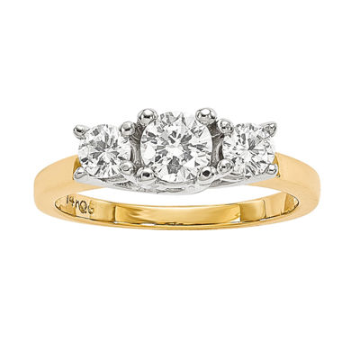 7/8 CT. T.W. Diamond 14K Two-Tone Gold 3-Stone Ring