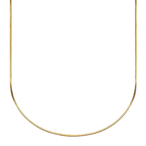 """Made in Italy 10K Gold Venetian Box Chain Necklace, 18"""""""