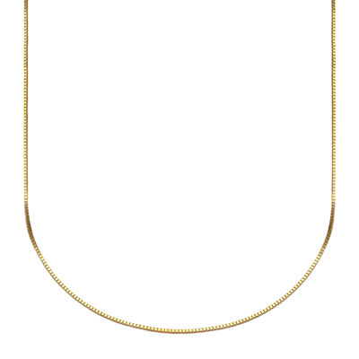 """Made in Italy 10K Gold Venetian Box Chain Necklace, 20"""""""