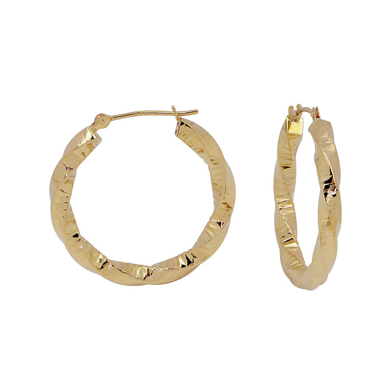 image of 14K Yellow Gold Rope Textured Hoop Earrings-pp5006560629