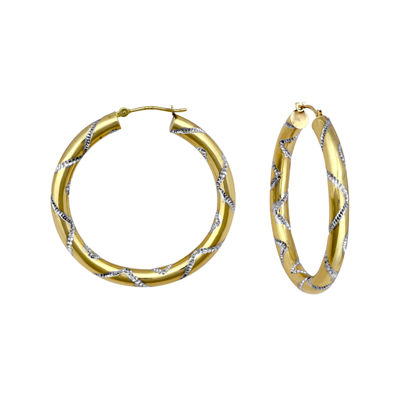 14K Two-Tone Gold Etched Hoop Earrings