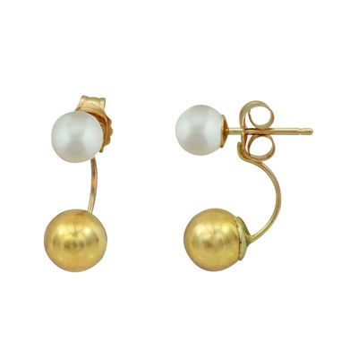 Genuine Pearl 14K Yellow Gold Ball Earrings