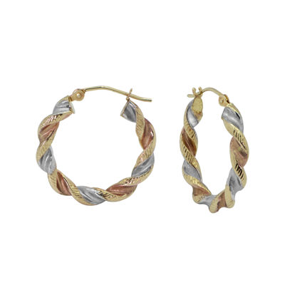 14K Tri-Tone Hoop Earrings
