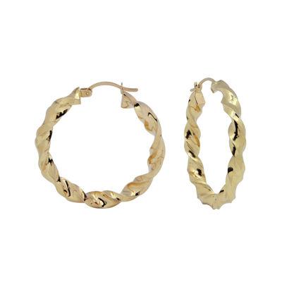 14K Yellow Gold 35mm Twist Hoop Earrings
