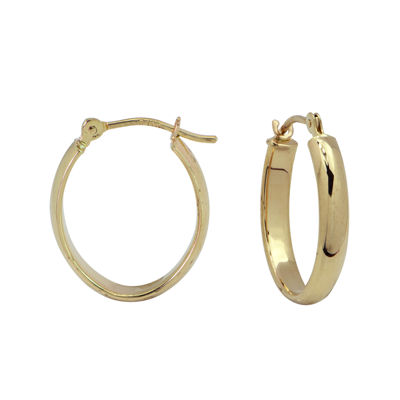 14K Yellow Gold Polished Oval 14.5mm Hoop Earrings