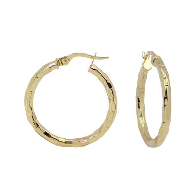 14K Yellow Gold 25mm Diamond-Cut Hoop Earrings