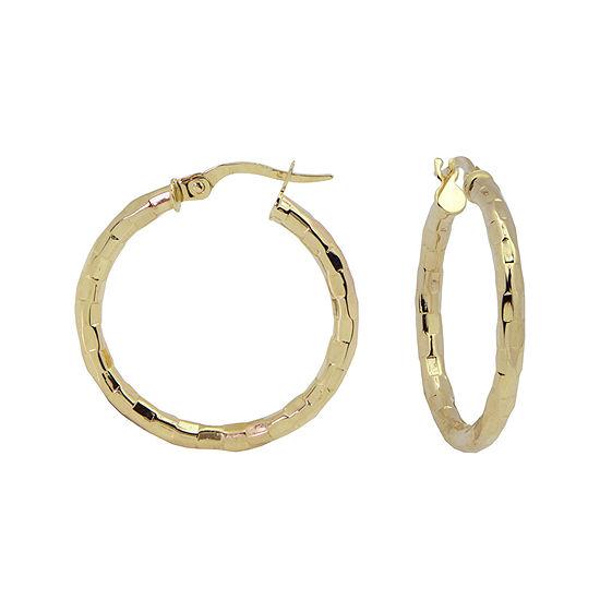 14K Yellow Gold 25mm Diamond-Cut Hoop Earrings