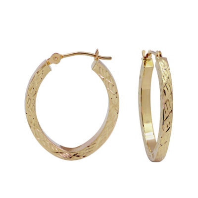 Diamond-Cut 14K Gold 18mm Hoop Earrings