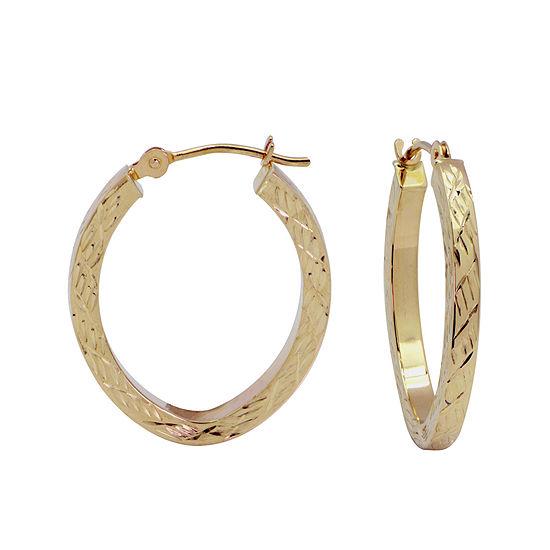 Diamond Cut 14k Gold 18mm Hoop Earrings