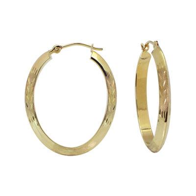 14K Oval Diamond-Cut Hoop Earrings