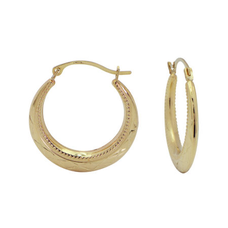 14K Gold Greek Key Hoop Earrings JCPenney