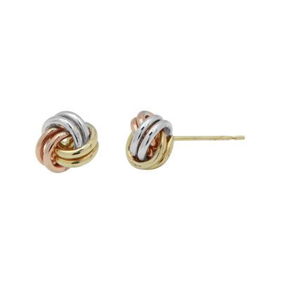 10K Tri-Tone Gold Love Knot Earrings
