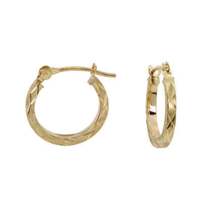 Girls 14K Yellow Gold Diamond-Cut Hoop Earrings