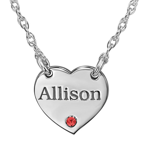 Personalized Birthstone Heart Name Pendant Necklace