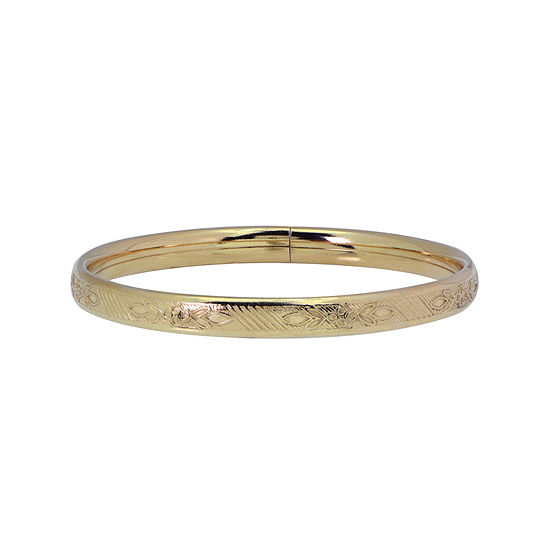 Child 14K Gold Over Silver Floral Etched Bangle